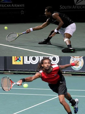 Black Tennis Pro's Gael Monfils and Dustin Brown 2010 South African Open Quarterfinals