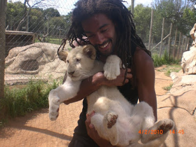 Black Tennis Pro's Dustin Brown at lion's park in Johannesburg, South Africa