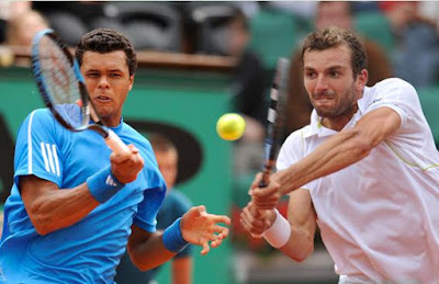 Black Tennis Pro's Jo-Wilfried Tsonga and Julien Benneteau 2009 Roland Garros Round 2