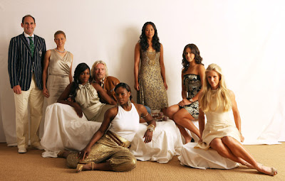 Black Tennis Pro's (L-R) Vera Zvonareva, Venus Williams, Serena Williams, Anne Keothavong, Ana Ivanovic and Elena Dementieva pose during a studio session at The Ralph Lauren Sony Ericsson WTA Tour Pre-Wimbledon Party hosted by Richard Branson at The Roof Gardens on June 18, 2009 in London, England.
