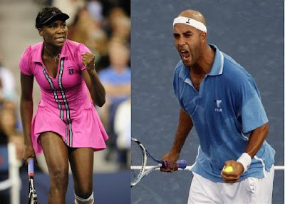 Black Tennis Pro's Venus Williams And James Blake 2009 U.S. Open Round 1