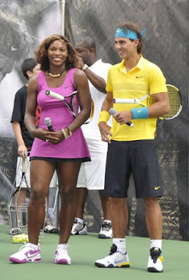 Black Tennis Pro's Serena Williams and Spaniard Rafael Nadal Nike Tennis Challenge 2009.