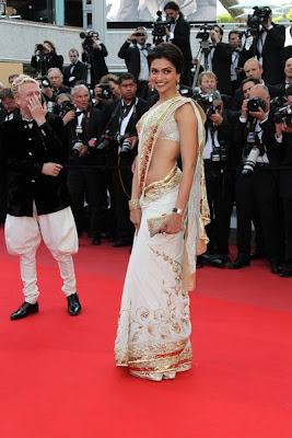 Deepika Padukone in saree at  cannes 2010