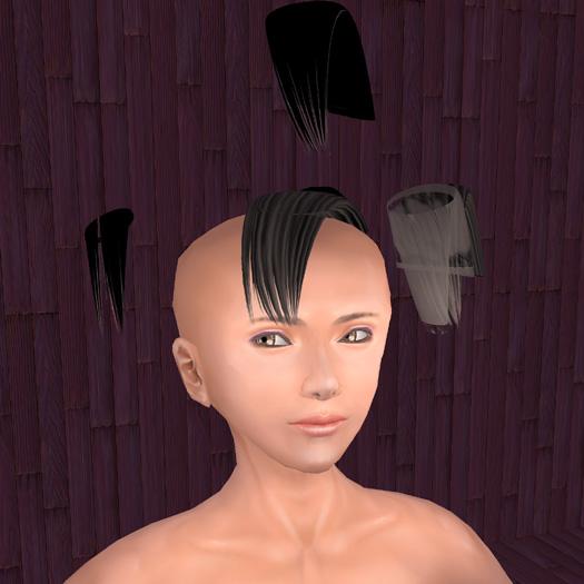 透過テクスチャの挑戦は前髪から