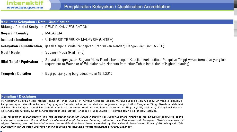 Oum Perak Online Community Program Ijazah Sarjana Muda Pengajaran Oum Diiktiraf Jpa