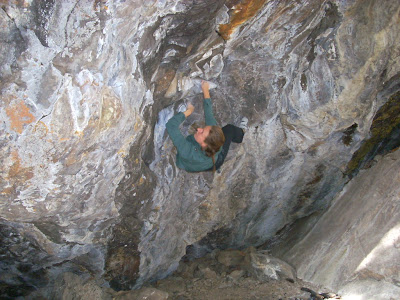 Tara bouldering in Keystone, Summit County, Colorado