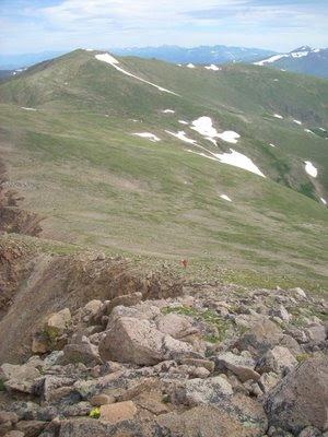 climbing up Bard Peak