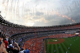 Fireworks fill the sky above Shea Stadium after the last baseball game was played Sunday, Sept. 28, 2008, in New York. The Florida Marlins defeated the New York Mets 4-2.