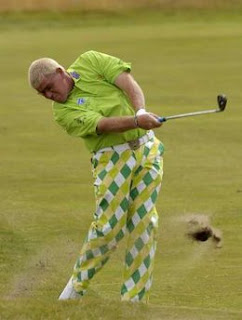 John Daly of the U.S. plays a shot on the second hole during the first round of the British Open Golf Championship at the Turnberry Golf Club in Scotland, July 16, 2009.<br />REUTERS/Eddie Keogh (BRITAIN SPORT GOLF)