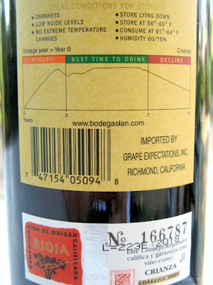 2001 Bodega LAN Crianza Rioja Spanish wine back label