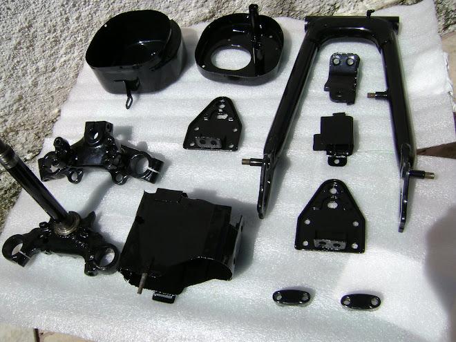 Pecas do chassis pintadas com eletrostatica.