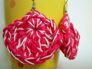 crochet earrings jewelry jewellery handmade unique pink white present gift fashion KooKoo