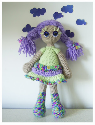 crochet amigurumi doll girl toy present gift purple violet green clouds colors KooKoo