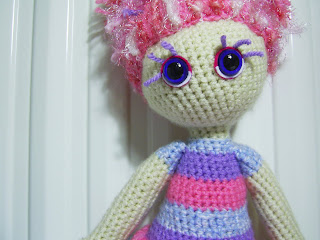 amigurumi crochet craft art doll girl toy blue violet purple pink eyes hair eyelashes handmade unique yarn wool