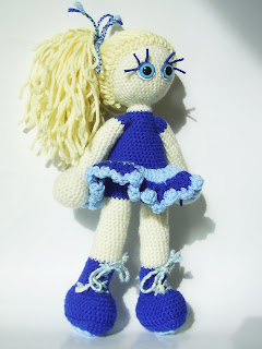 art craft crochet amigurumi handmade unique girl doll ooak blue star ponytail hair face eyes dress skirt shoes toy kookoocraft kookoo