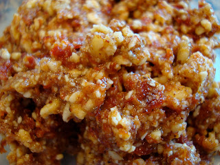 "Close up of Raw Vegan Taco Nut ""Meat"" showing chopped nuts"