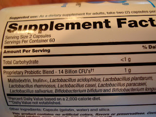 Supplement Facts on back of kefir package