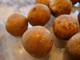 Close up Vegan Peanut Butter Vanilla Balls frozen in container