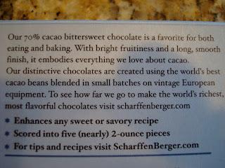 Back label of chocolate bar