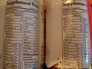 Supplement Facts on back of Drinks