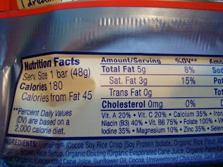 Nutritional Information on bar