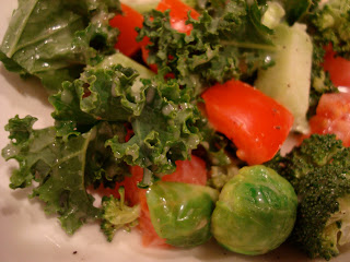 Green salad with vegetables with Vegan Slaw Dressing