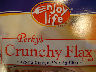 Close up of Crunchy Flax Cereal Box