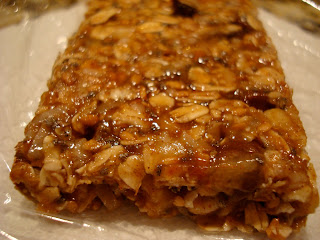 Close up of end of Vegan Peanut Butter Chocolate Chip Protein Bar