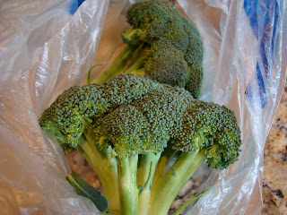Heads of broccoli in bag