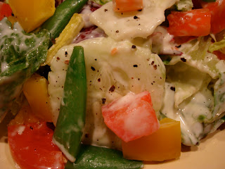 Close up of salad with Creamy Tahini Cesar-Inspired Dressing