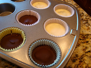 Vegan White Chocolate Chocolate-Peanut Butter Cups out of refrigerator in muffin tin