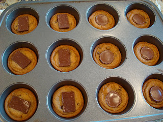 Peanut Butter Cup & Dark Chocolate Carmel Chocolate Chip Cookies in muffin tin