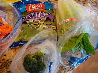 Greens, Romain, Carrots and Broccoli