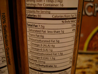 Nutrition Label of Flax Oil Dressing