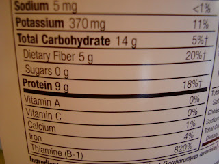 Close up of nutritional facts