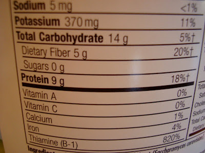 Close up of Nutrition Facts