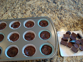 Mixed chocolate candies next to cupcake pan