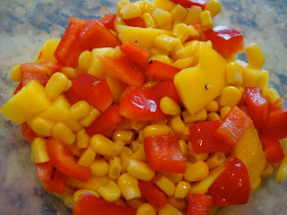Sweet Corn Salsa with Mango, Lime, Red Pepper