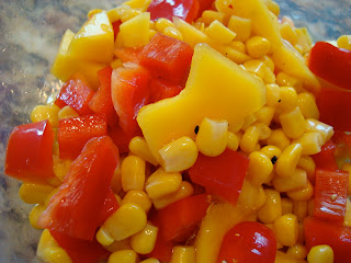 Close up of Sweet Mango & Lime Corn Salsa