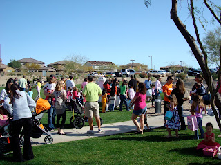 Crowd of people at Easter Egg Hunt