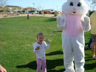Young girl dancing with Easter Bunny