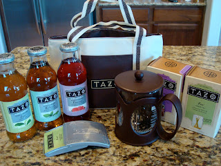 Tazo products on countertop