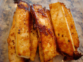 Sesame Ginger Maple Tofu stacked in container
