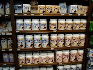 Shelves of Whey Protein powder