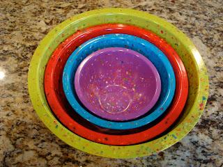 Overhead of multi colored Zak Nesting Bowls