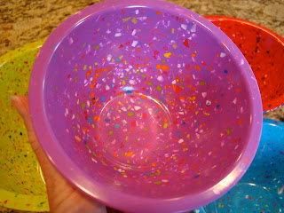 Inside smaller purple speckled nesting bowl