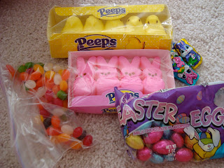 Close up of various types of candy from baskets
