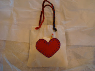 Handmade bag with red heart