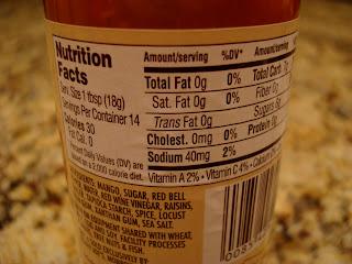 Nutrition Facts on Mango Ginger Chutney bottle