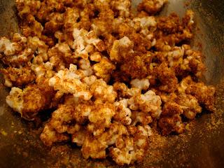 Peanut Butter Coconut Oil Popcorn in silver bowl